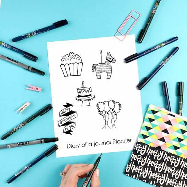 Bullet journal birthday doodle ideas