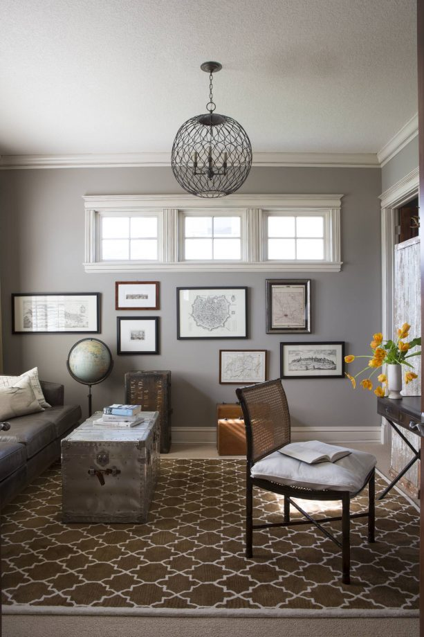 small contemporary home office with Sherwin-Williams dorian gray SW 7017 wall paint color