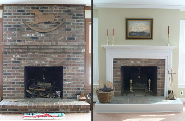 floor to ceiling brick fireplace makeover with new clean white mantel