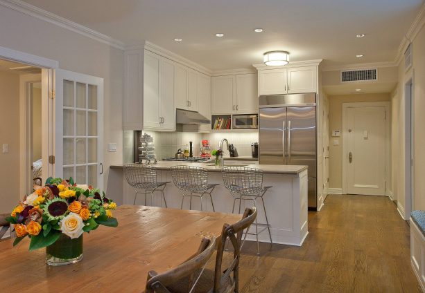 contemporary kitchen with cabinets in Behr Antique White color paint