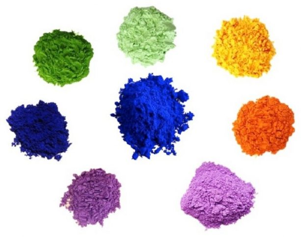 various colors of powdered pigments