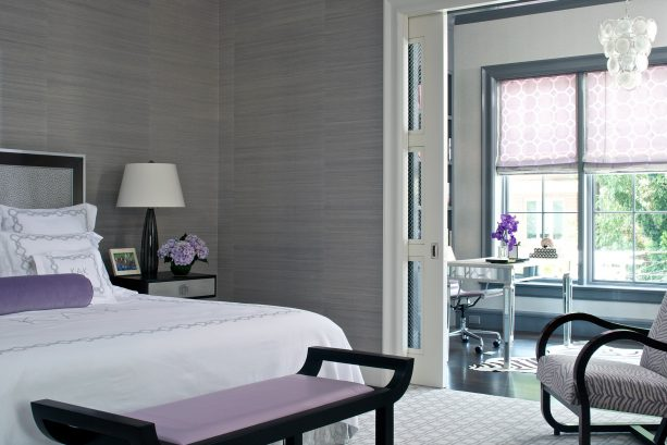 grey and white bedroom with purple and black accents