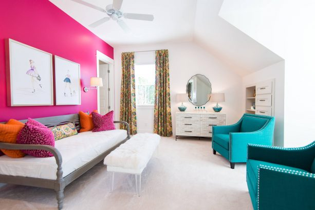 pink and teal kid's room