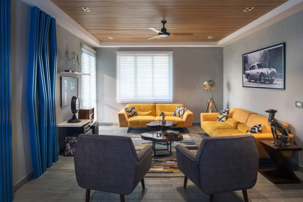 retro grey and yellow living room