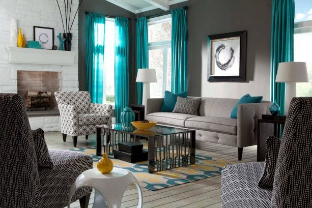 grey living room with teal drapes