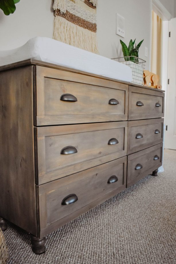 changing table with Rust-Oleum Weathered Gray and Driftwood combination