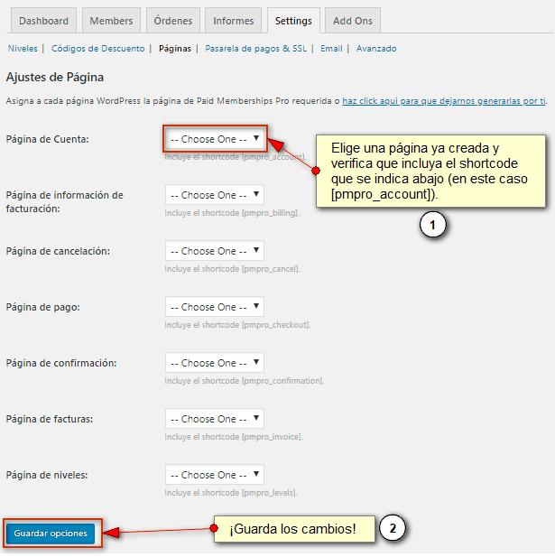 Muestra el gestor manual de páginas de Paid Memberships Pro