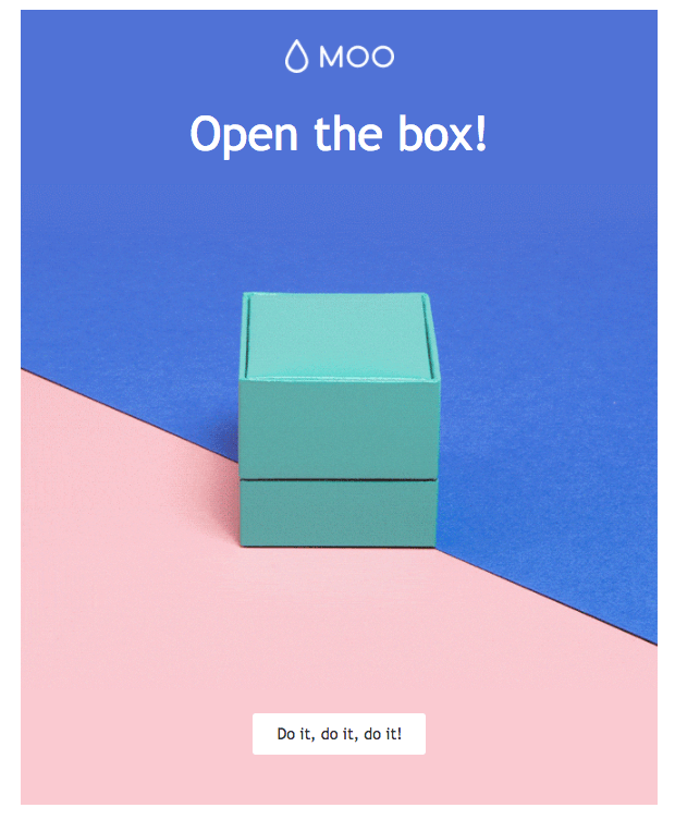 """MOO """"open the box"""" email example"""