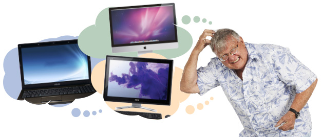 an old man thinking really hard about what computer to buy