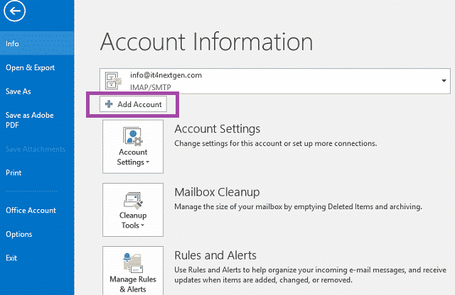 outlook account information