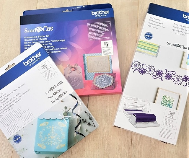 Brother Foiling kit, Embossing kit and Roll Feeder are optional accessories for the Scan N Cut