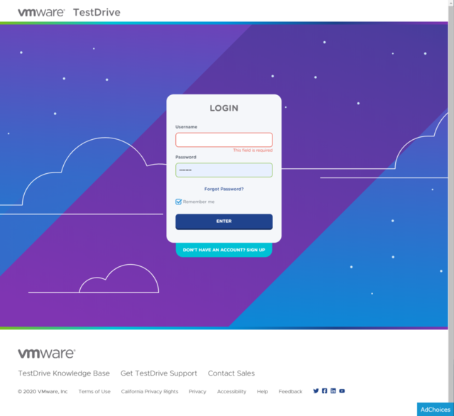 Login to VMware TestDrive to experience ControlUp with VMware Horizon