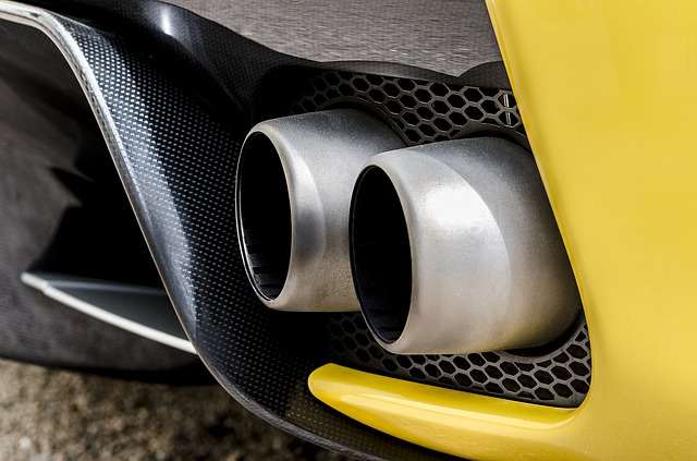 yellow car exhaust tip