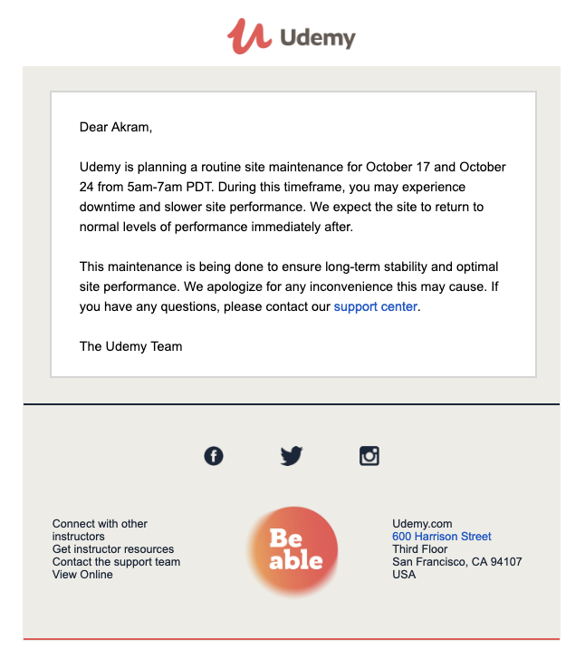 Udemy apology email template