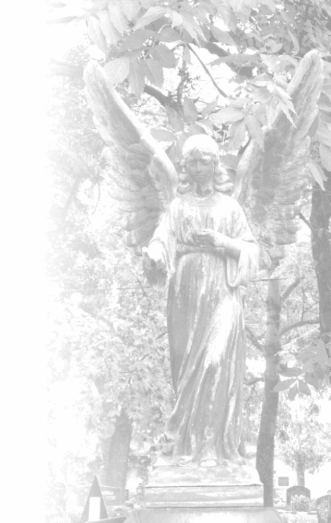 Bild Engel Grabmal in schwarz-weiss