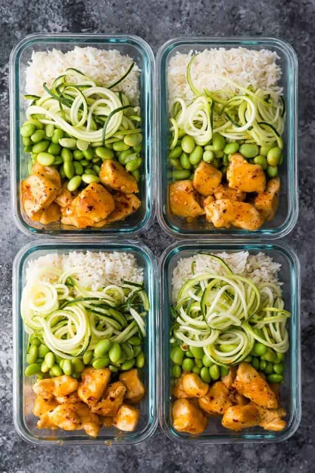 Healthier Firecracker Chicken Meal Prep Bowls Sweet Peas And Saffron