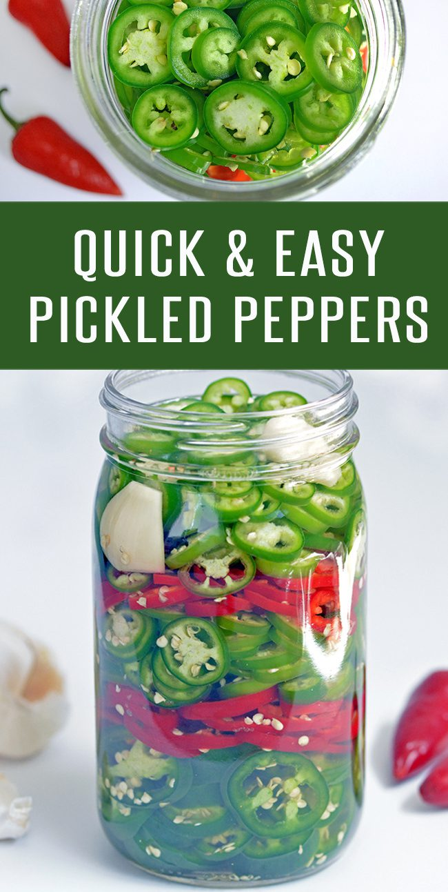 Quick and easy pickled peppers recipe. Ready in about 30 minutes. Add to hamburger recipes, sandwiches recipes, and pizza recipes to kick them up a notch. Use your favorite peppers- Jalapeno, Serrano or Bell Peppers. More recipes at FoodieandWine.com | #mexicanrecipes #spicyrecipes #pickledrecipes #30minuterecipes