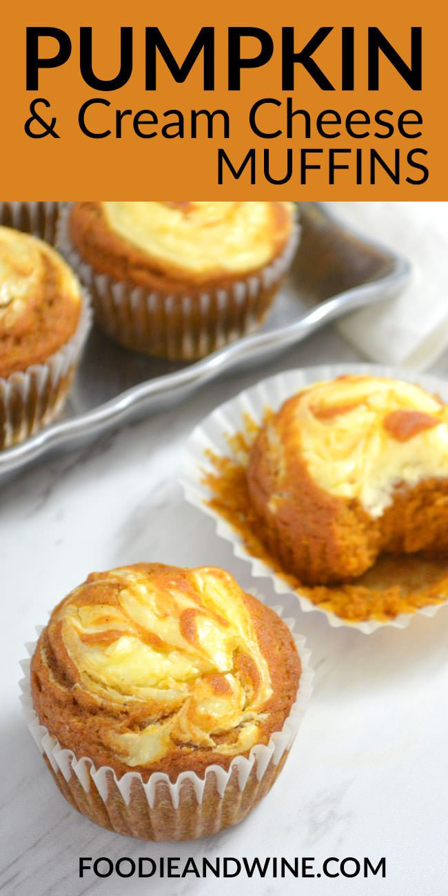Easy Pumpkin Cream Cheese Muffins - ready in just 30 minutes. If you love fall recipes this muffin recipe is perfect! Moist and flavorful! More pumpkin recipes at | FoodieandWine.com