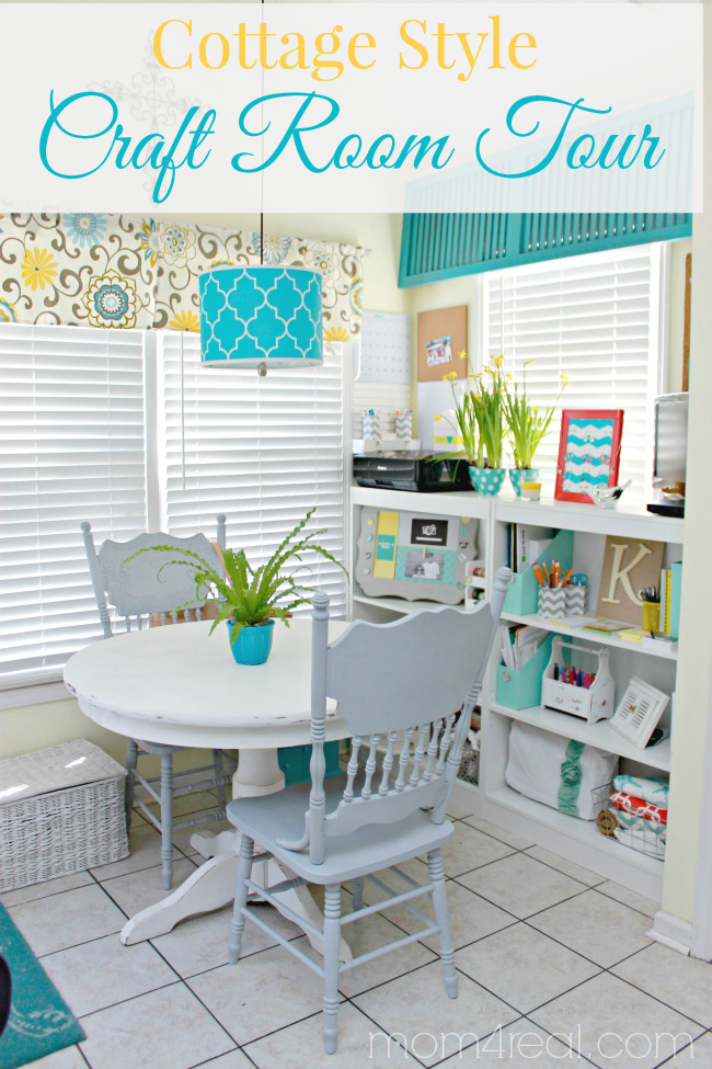 eating nook with craft supplies and printer organized on low bookcases