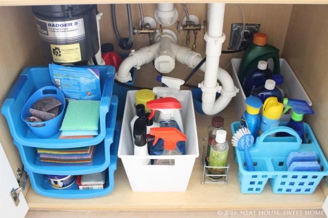 cleaning supplies organized under the kitchen sink