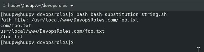 Bash substitution string