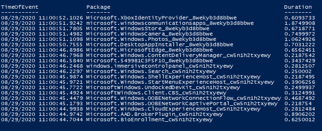 Windows 10 AppX packages installation time