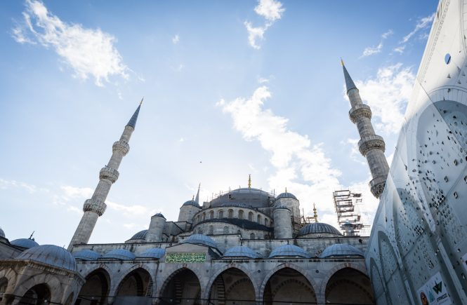 Blue Mosque against blue sky in Istanbul