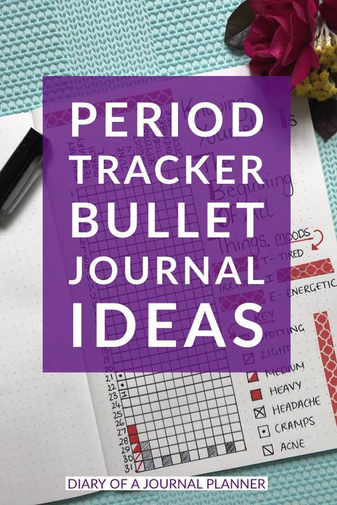 Monthly period tracker layout ideas for your bullet journal