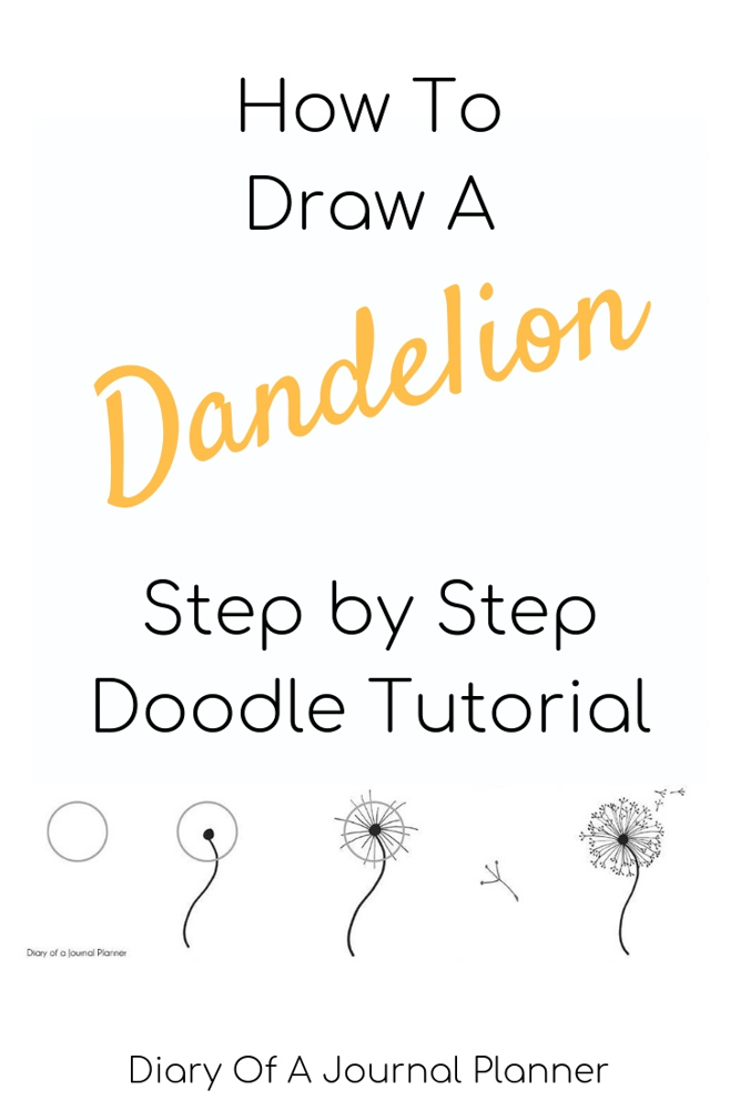 How to draw a dandelion step by step doodle tutorial