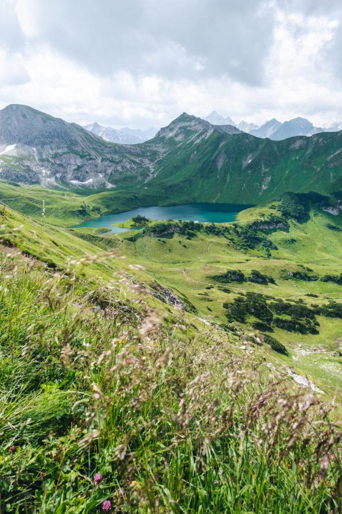 Bergwiese mit Schrecksee und Bergen im Hintergrund