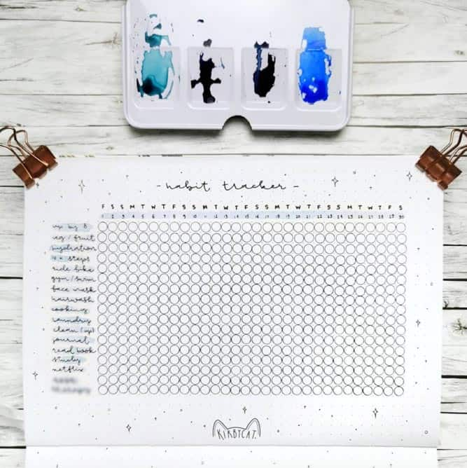Bullet Journal water tracker