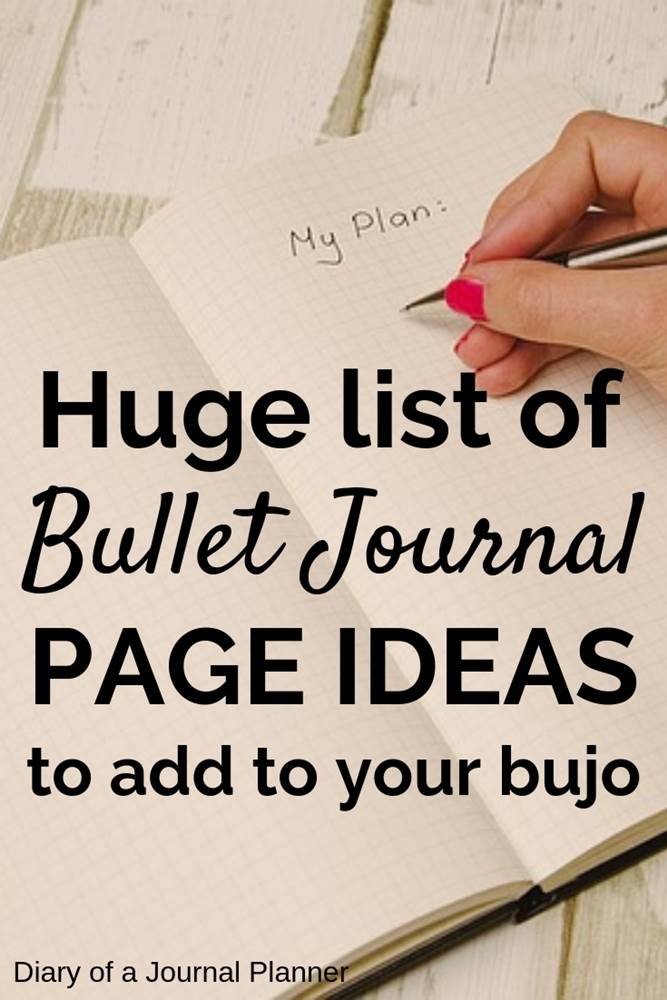 Huge list of bullet journal page ideas to add to your bujo
