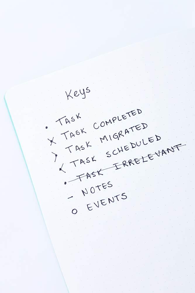 Bullet journal keys original method