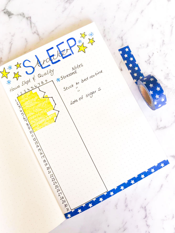 Sleep log for Bullet Journal