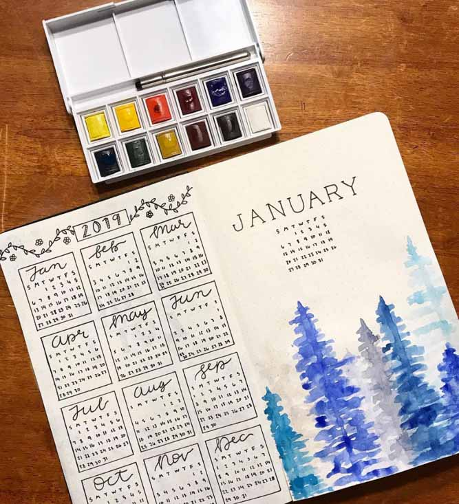 Winter Calendar bujo, bullet journal ideas january