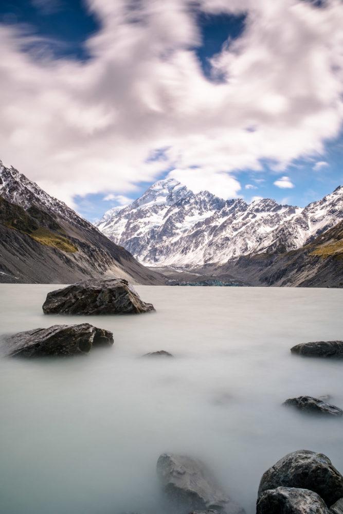Hooker Lake und Mount Cook Langzeitbelichtung