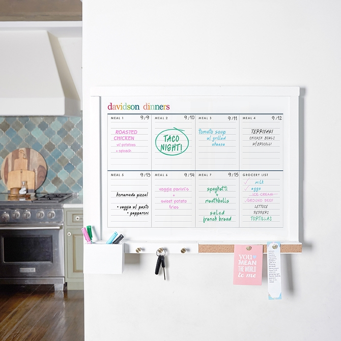 Erin Condren wall organization center with meal planning insert