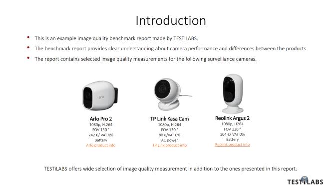 Surveillance Camera Benchamark Report: Introduction Slide