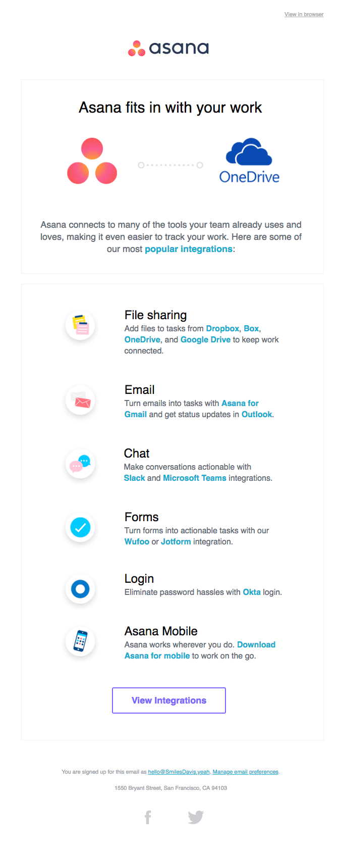Asana fits in with your work, onboarding autoresponder