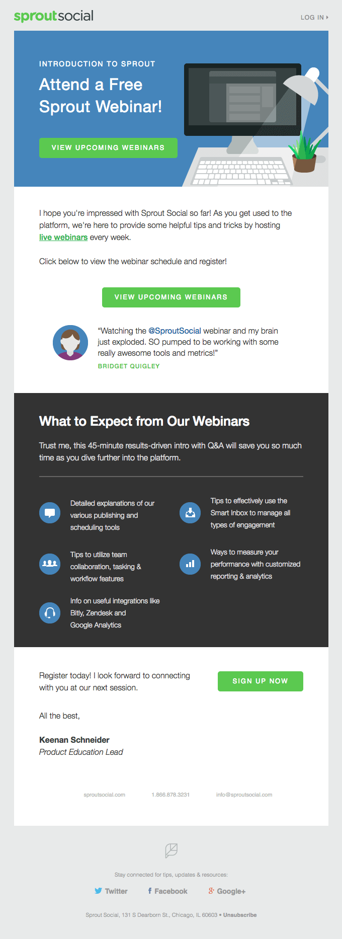 Attend a Free Sprout Webinar promotional broadcast