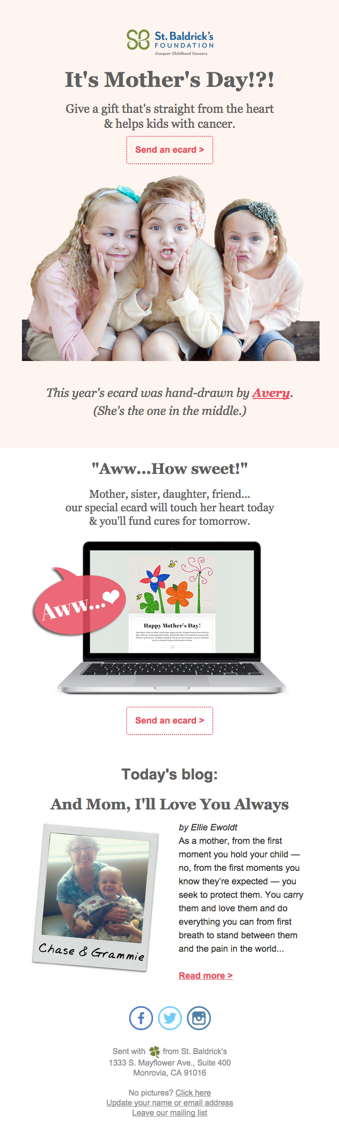 It's Mother's Day!?! email broadcast examples