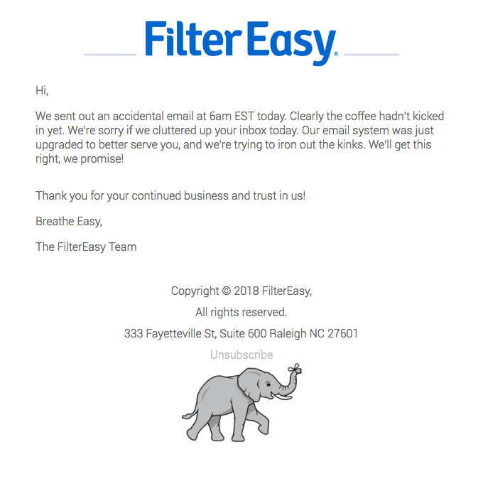 Filtereasy apology email sample