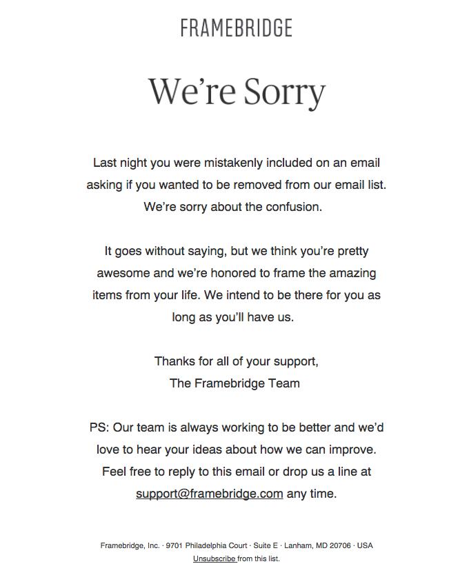 Framebridge apology email template