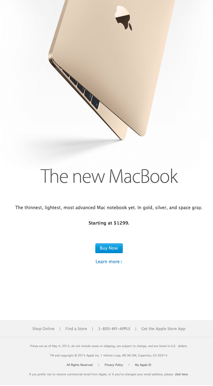 The new MacBook launch announcement sample email