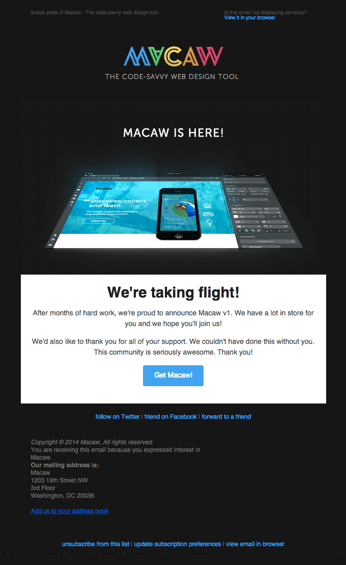 MACAW IS HERE! website release email example