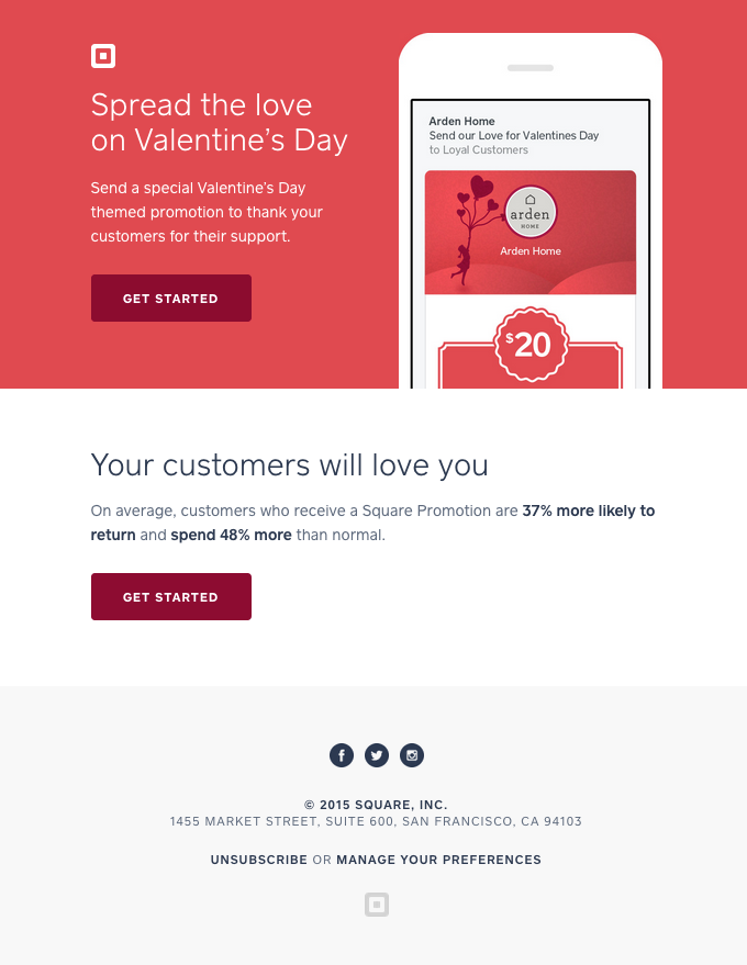 """""""Spread the love on Valentine's Day"""" email design"""