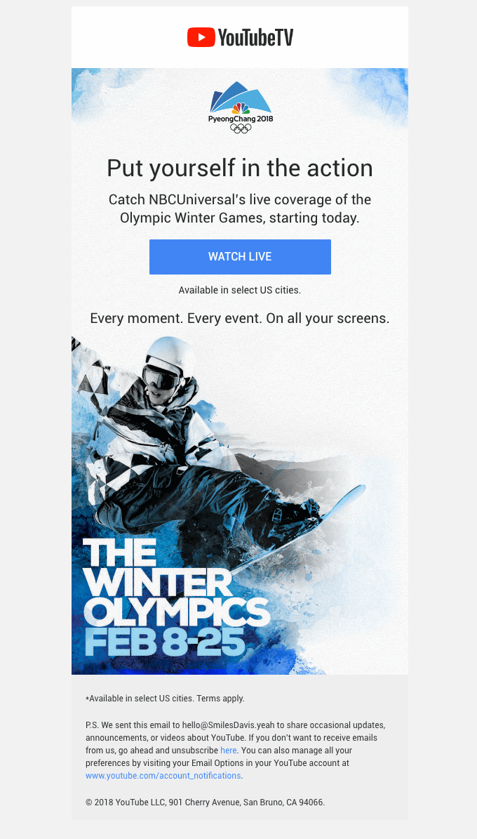 Put yourself in the action Youtube announcement email for The Winter Olympics