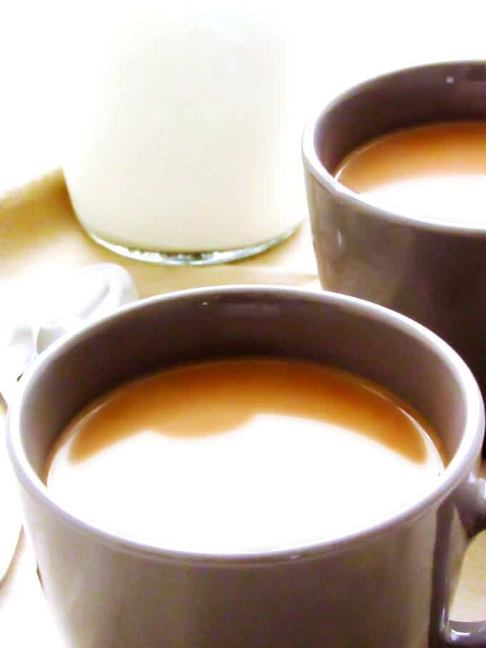 Close up of Coffee with Kahlua in a gray mug.