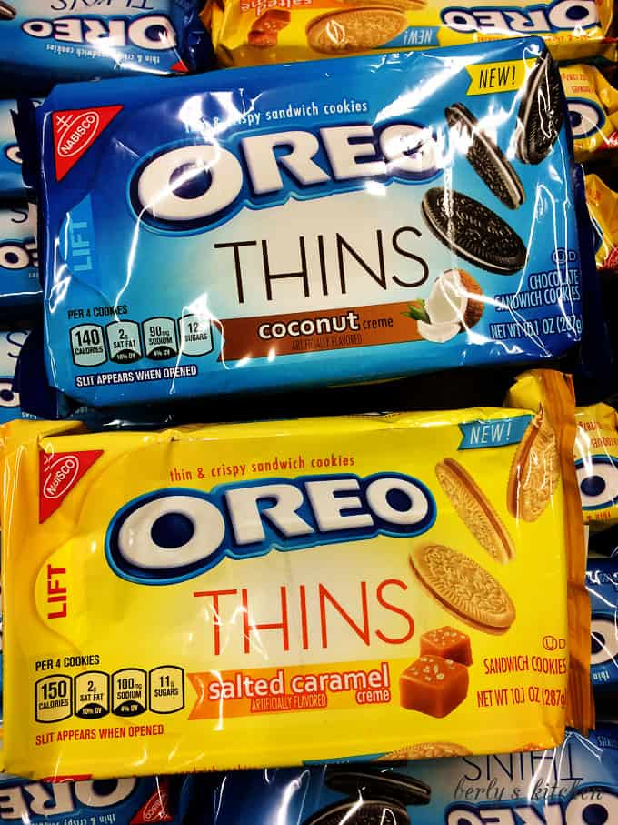 Package of coconut OREOs and package of salted caramel OREOs.
