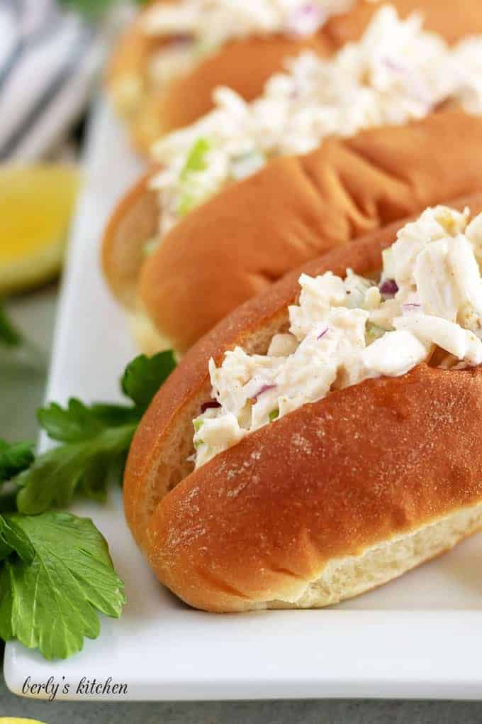 A close-up view of the crab roll, showing the crab meat.